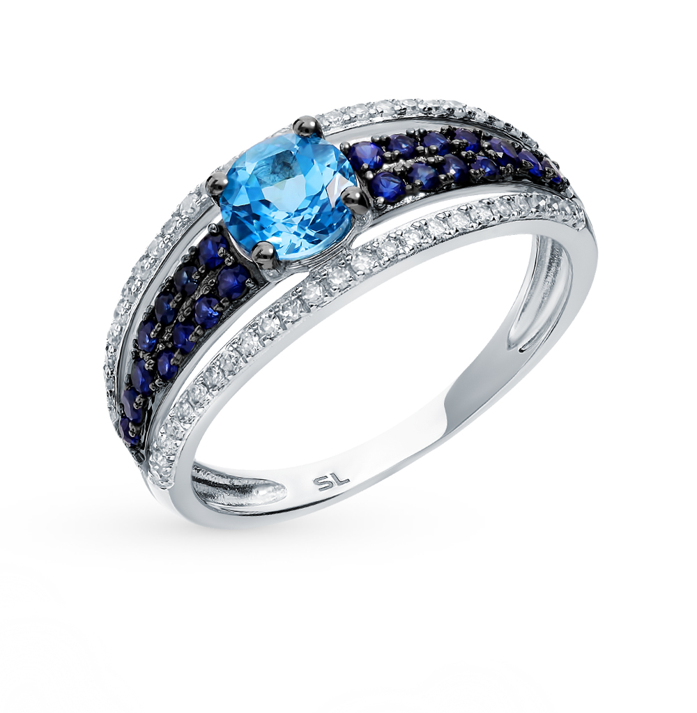 золотое кольцо с сапфирами, топазами и бриллиантами