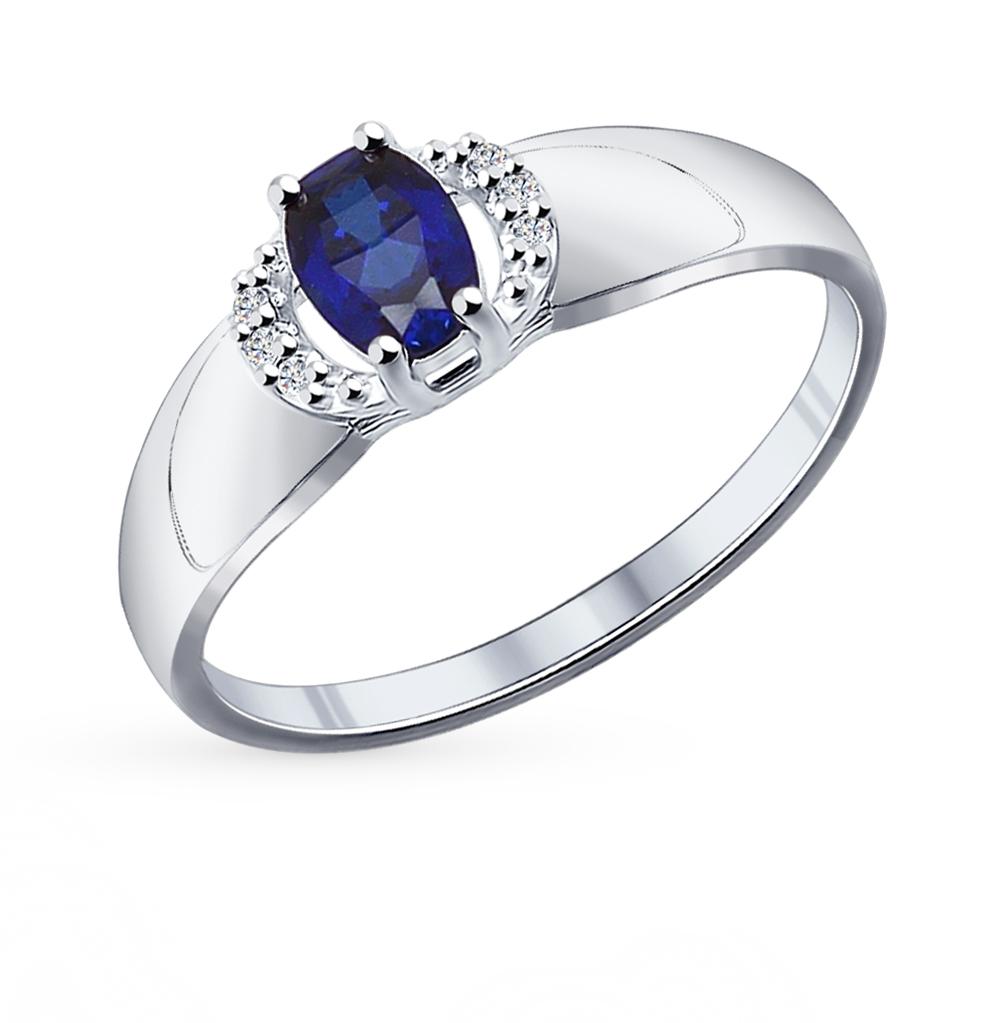 Фото «Серебряное кольцо с корундом и фианитами SOKOLOV 88010009»
