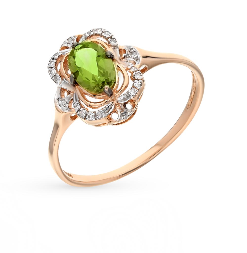 Золотое кольцо с султанитами и бриллиантами в Екатеринбурге