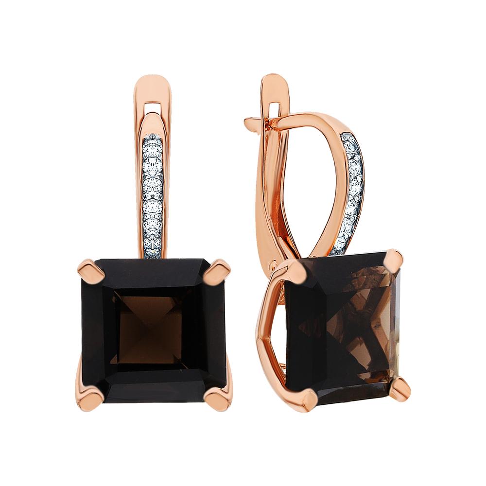 Фото «Золотые серьги с фианитами и кварцами дымчатыми»
