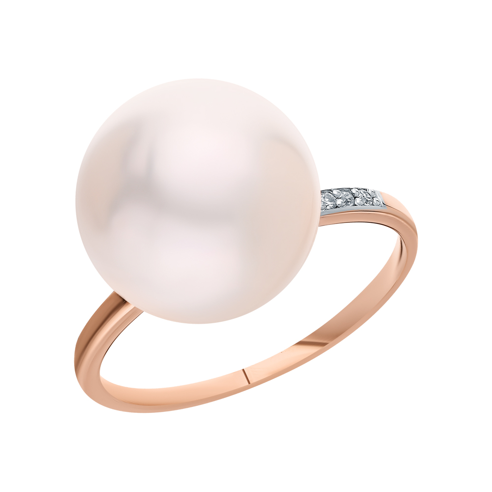 Золотое кольцо с жемчугами культивированными и бриллиантами в Санкт-Петербурге