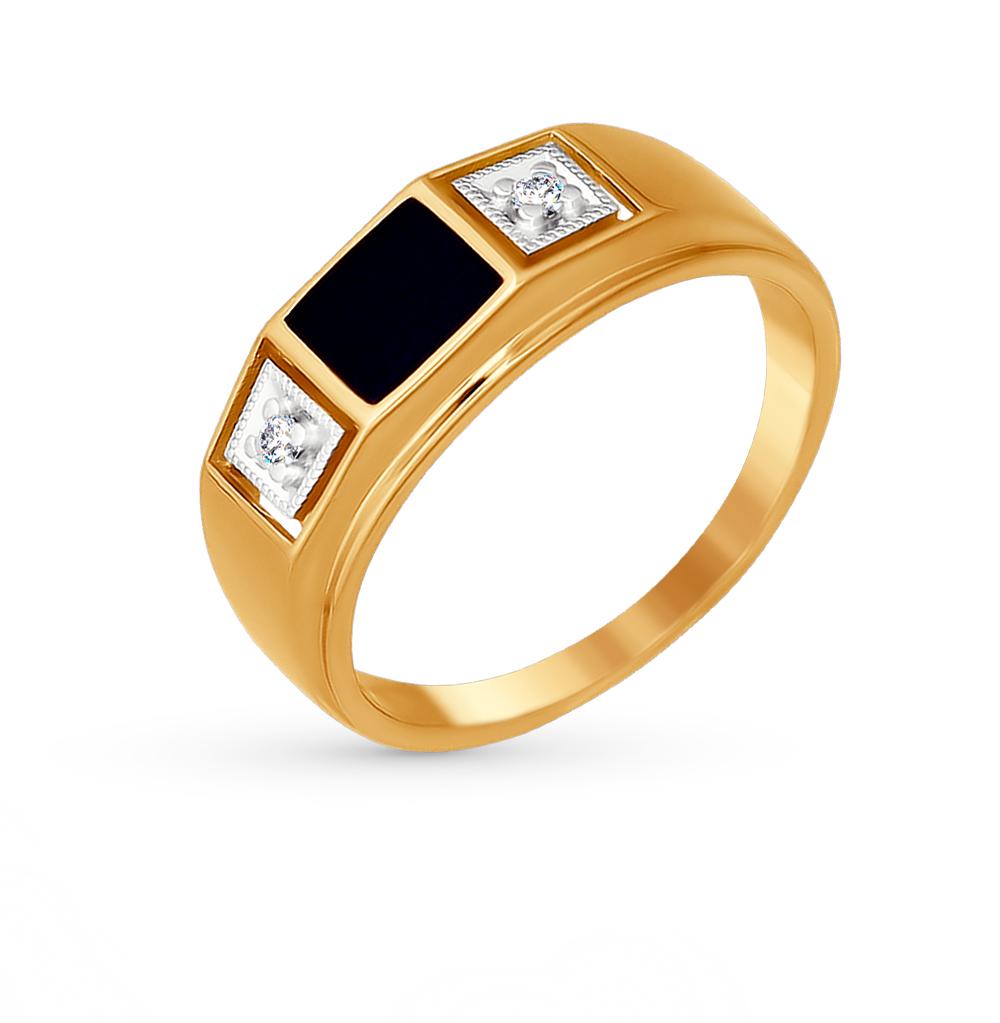 Фото «Золотое кольцо с фианитами и эмалью SOKOLOV 014873*»