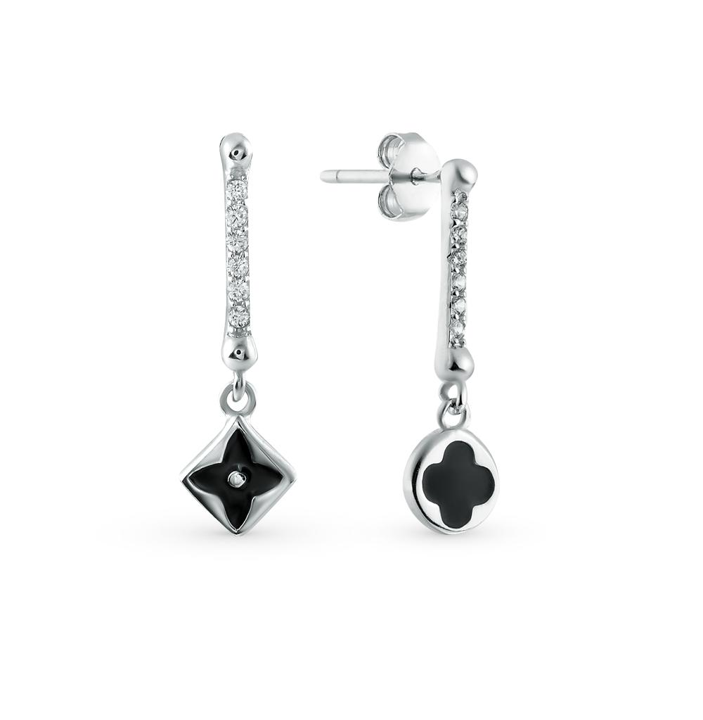 Фото «серебряные серьги с фианитами и эмалью»