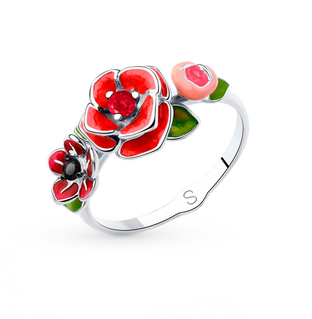 Серебряное кольцо с корундом, фианитами и эмалью SOKOLOV 94013031 в Екатеринбурге