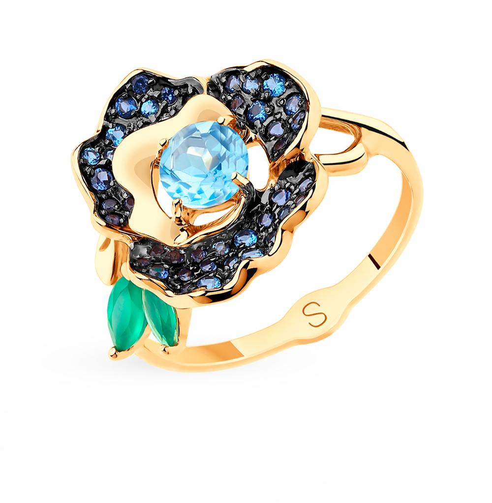 Фото «Золотое кольцо с топазами, фианитами и агатом SOKOLOV 715488*»