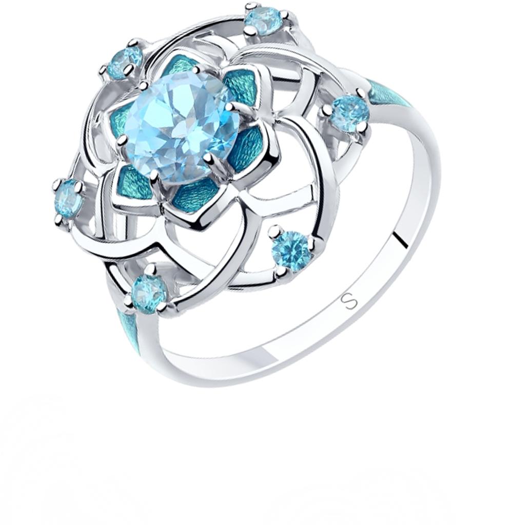 Фото «Серебряное кольцо с топазами, фианитами и эмалью SOKOLOV 92011810»