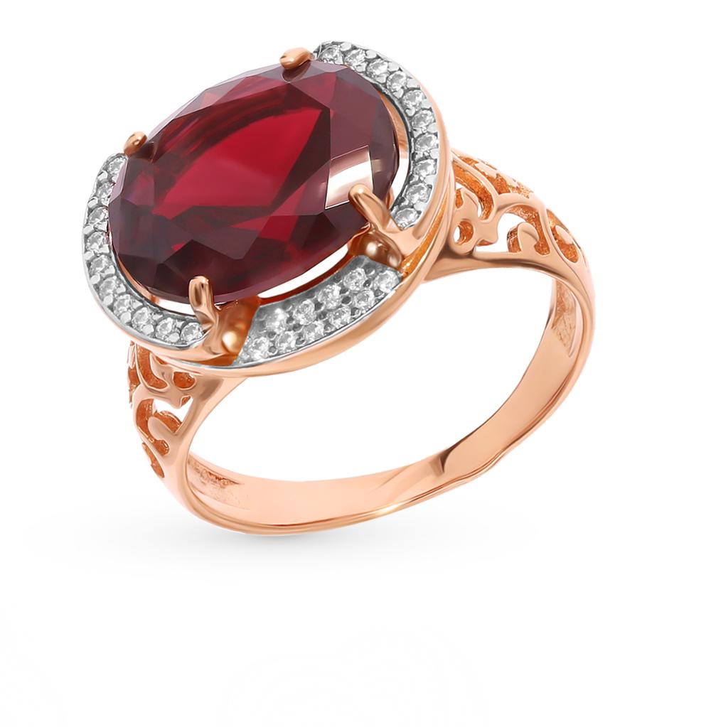 серебряное кольцо с нанокристаллами, фианитами и гранатом