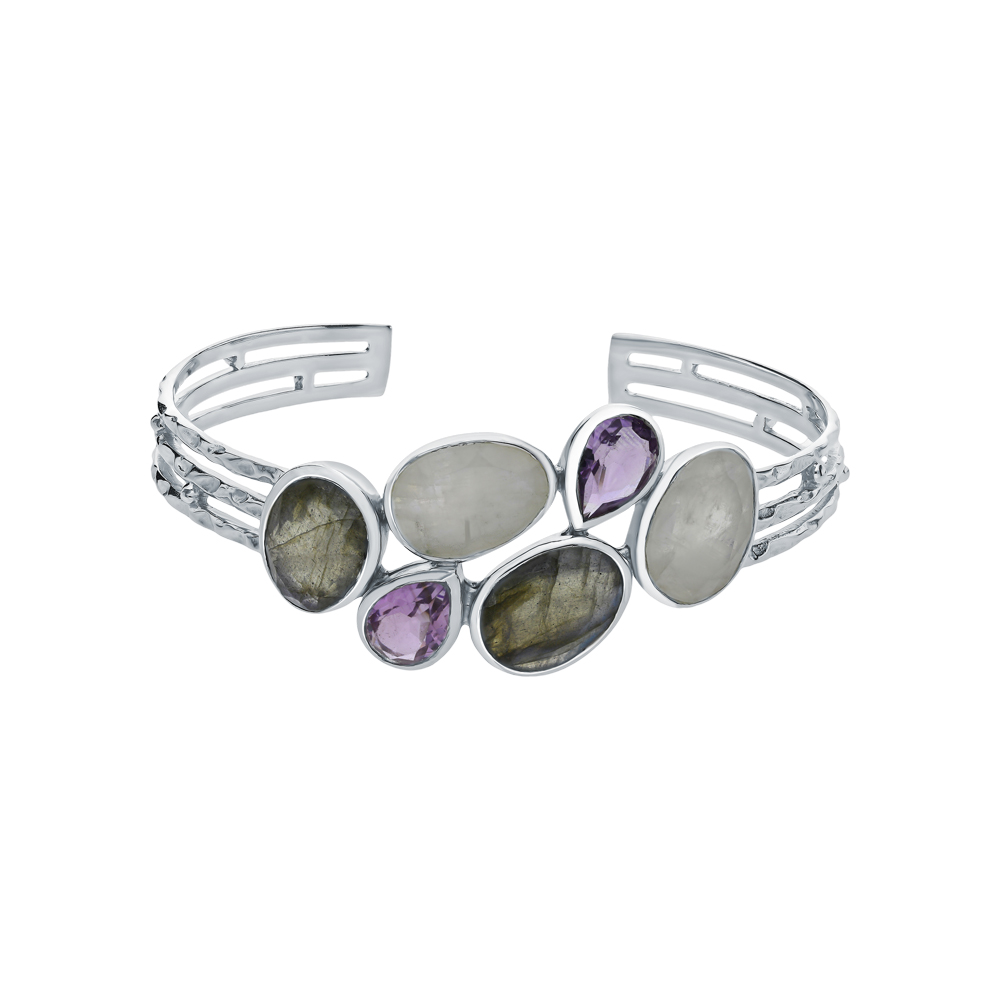 Фото «Серебряный браслет с аметистом, лабрадоритами и лунными камнями»