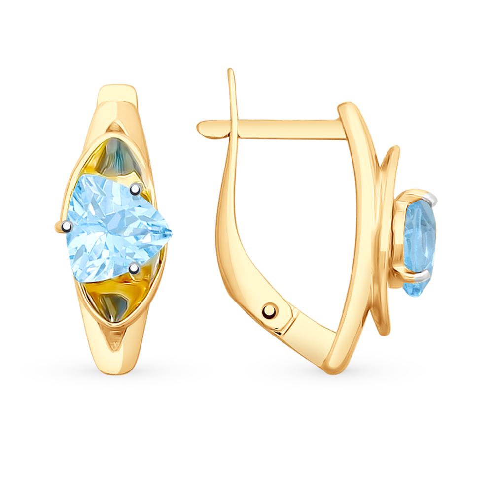 золотые серьги с топазами SOKOLOV 725706*