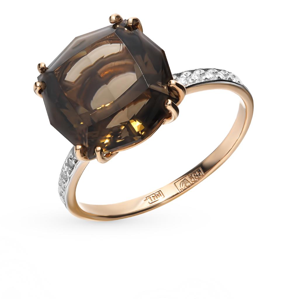 золотое кольцо с раухтопазами и фианитами