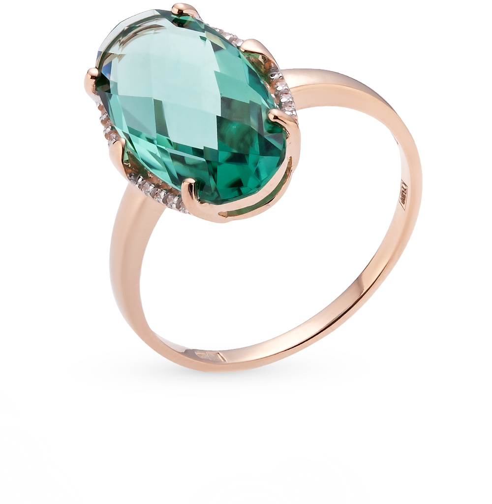 Фото «золотое кольцо с кварцем и фианитами»