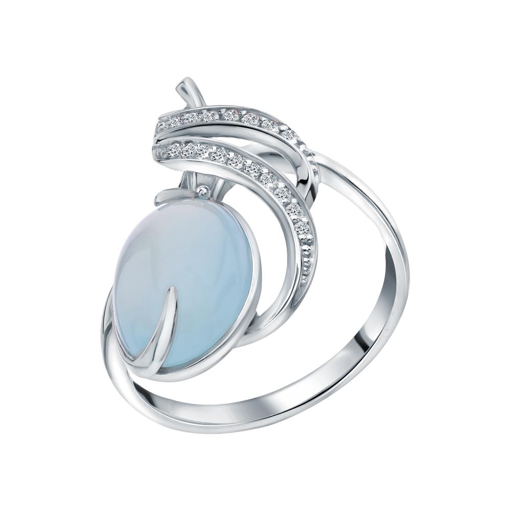Фото «Серебряное кольцо с халцедонами и фианитами»