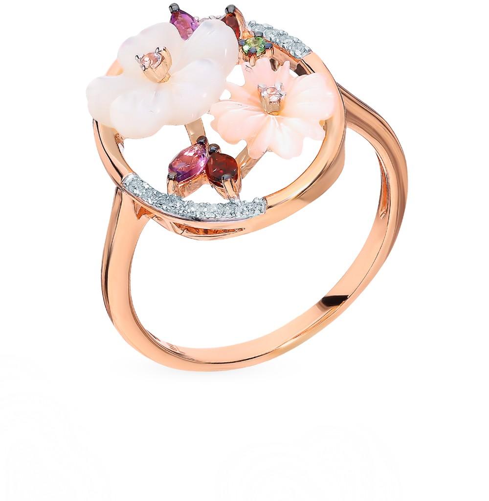 Фото «Золотое кольцо с сапфирами, аметистом, гранатом, перламутром, цаворитами и бриллиантами»