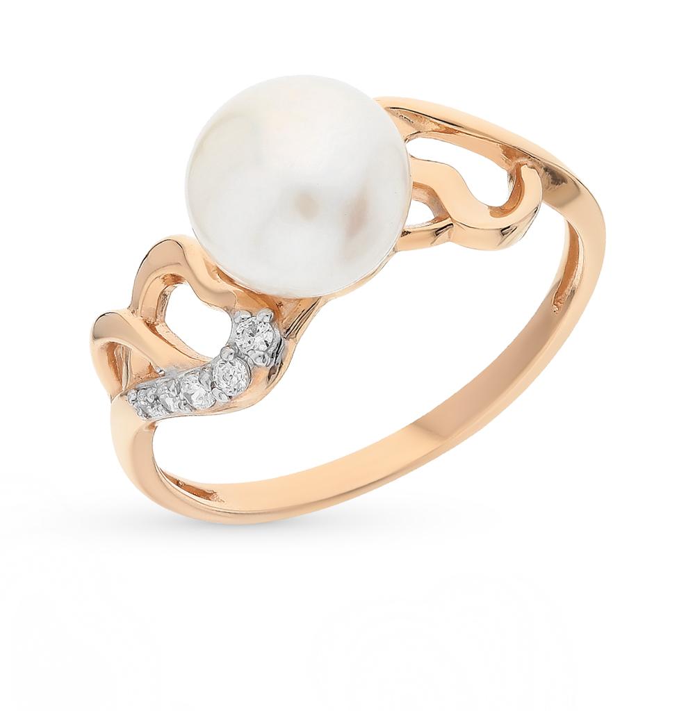 Золотое кольцо с фианитами и жемчугами имитациями в Екатеринбурге