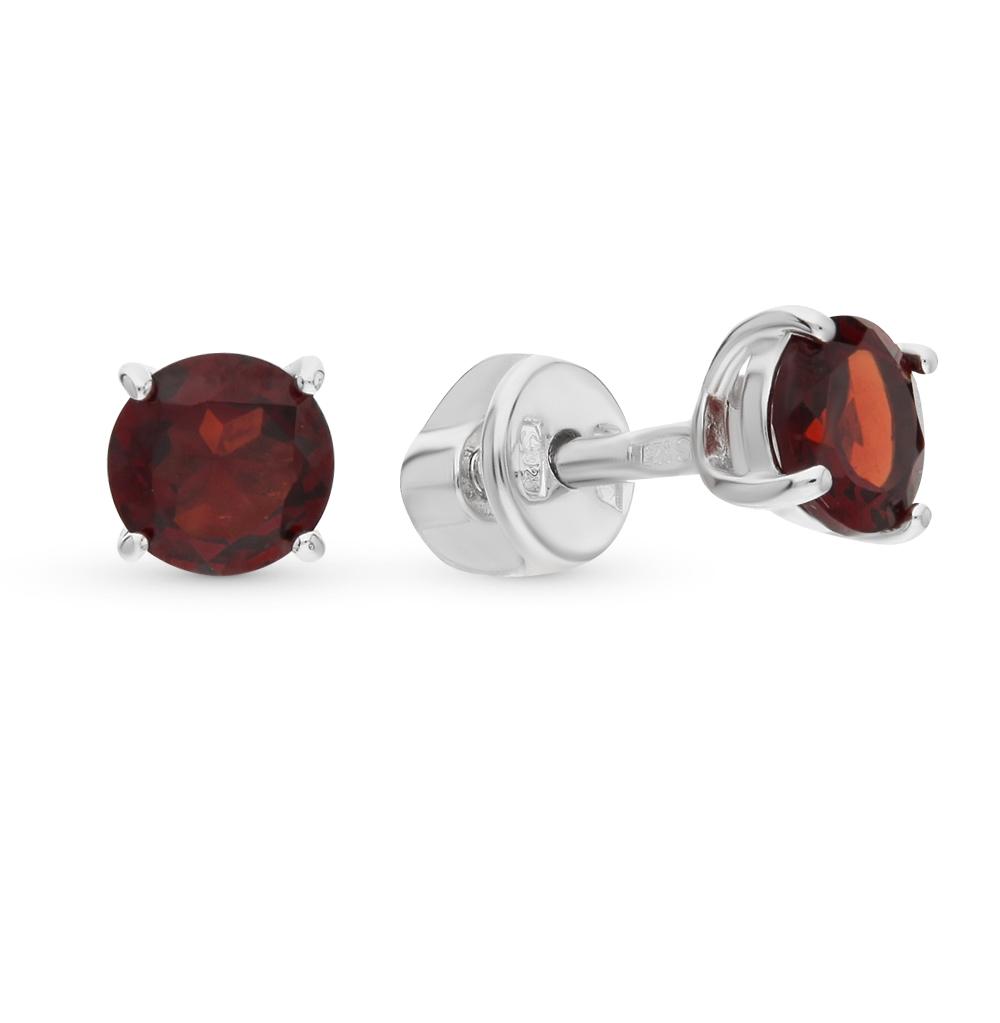 серебряные серьги с гранатом SOKOLOV 92021088