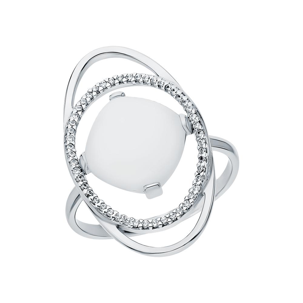 Серебряное кольцо с лунными камнями и кубическими циркониями в Екатеринбурге