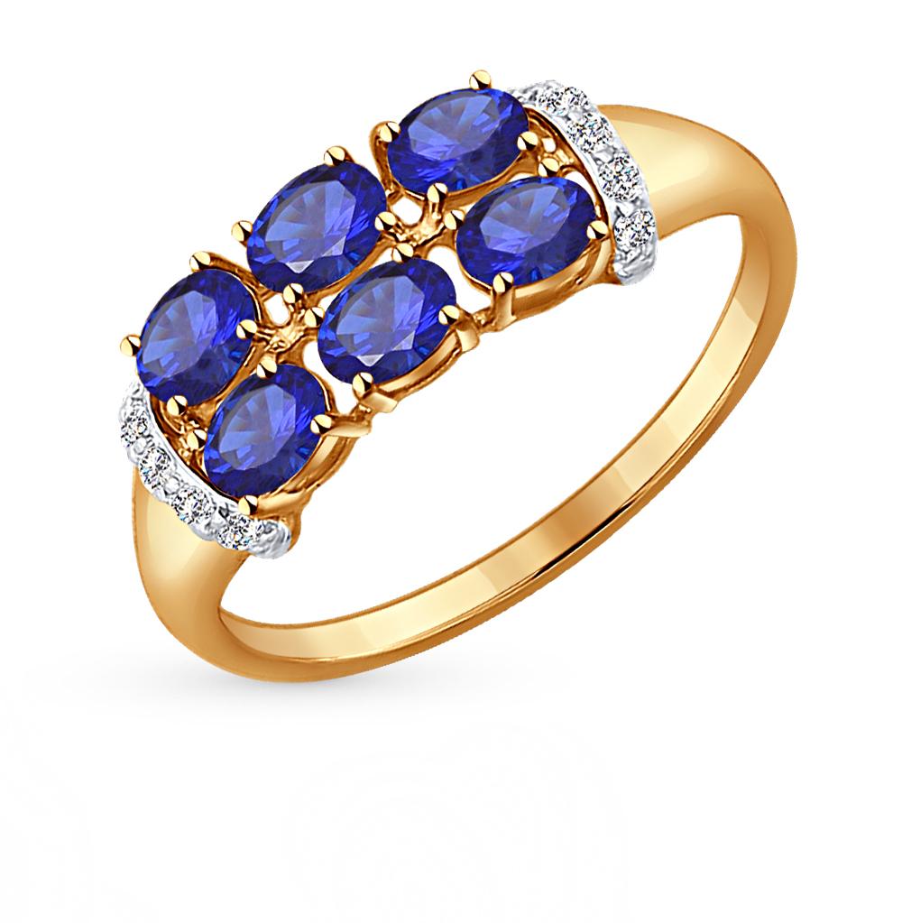 золотое кольцо с корундом и фианитами SOKOLOV 714249*