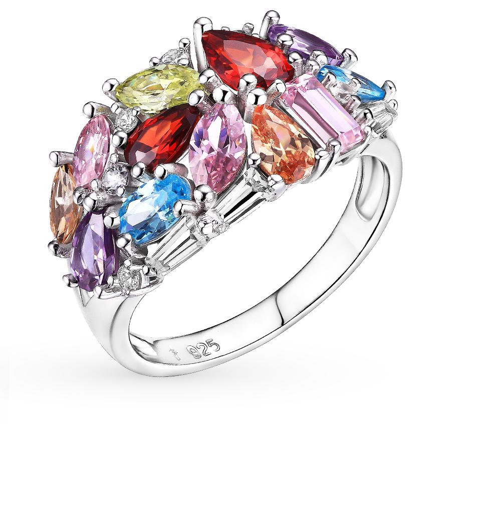 01abbc5a95d7 Серебряное кольцо с фианитами SUNLIGHT  белое серебро 925 пробы ...