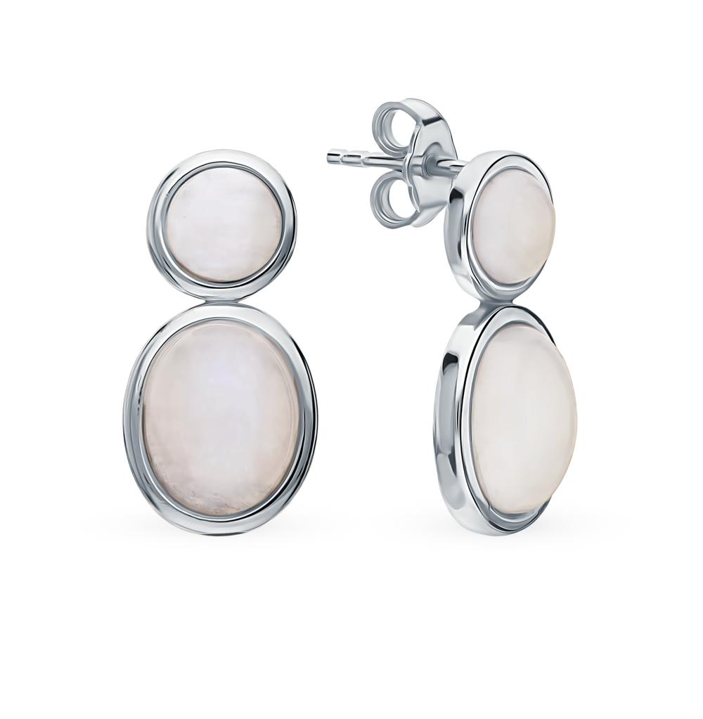 Фото «Серебряные серьги с лунными камнями»