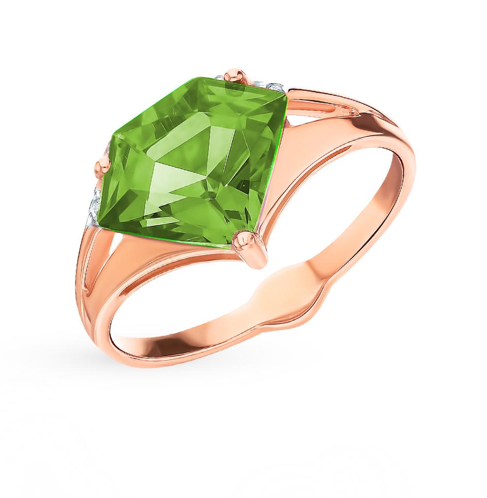 Фото «Золотое кольцо с султанитами и фианитами SOKOLOV 715361»