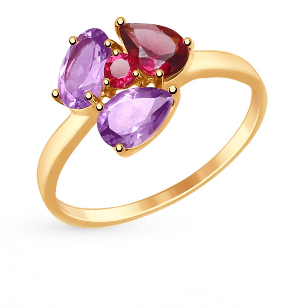 золотое кольцо с родолитами и аметистом SOKOLOV 714817*