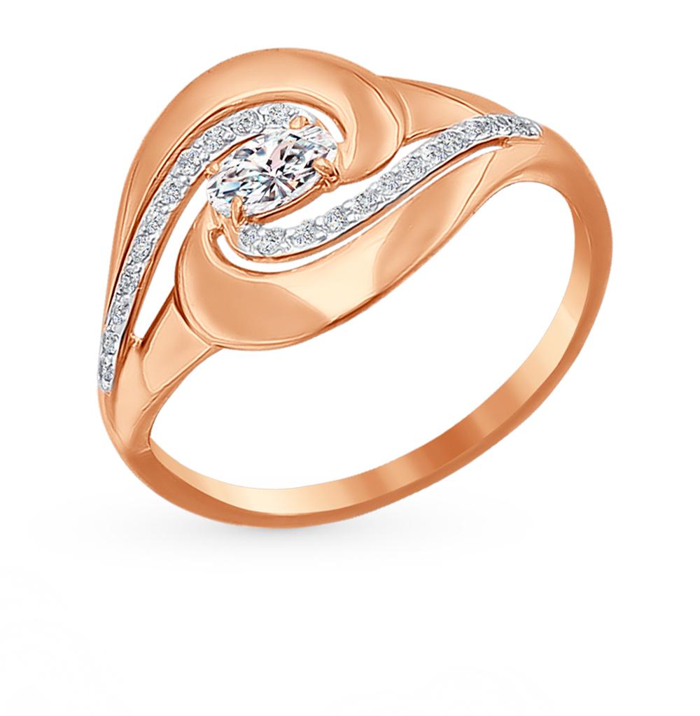 золотое кольцо с фианитами SOKOLOV 016657*
