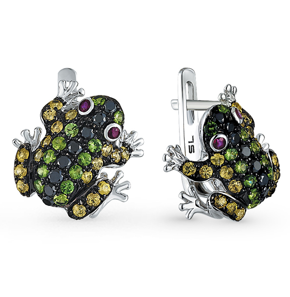 Фото «золотые серьги с чёрными бриллиантами, гранатом, рубинами и сапфирами»
