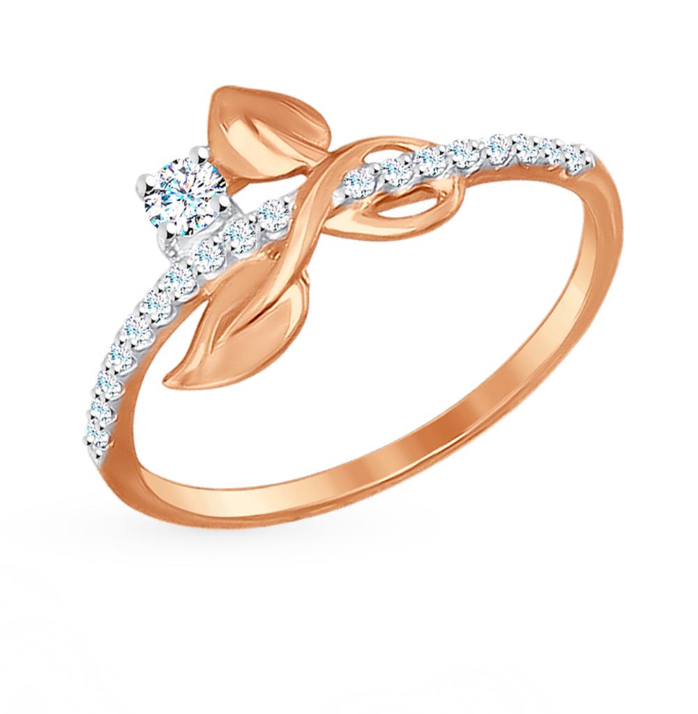 золотое кольцо с фианитами SOKOLOV 017217