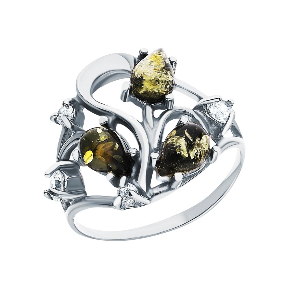Серебряное кольцо с фианитами и янтарем в Санкт-Петербурге