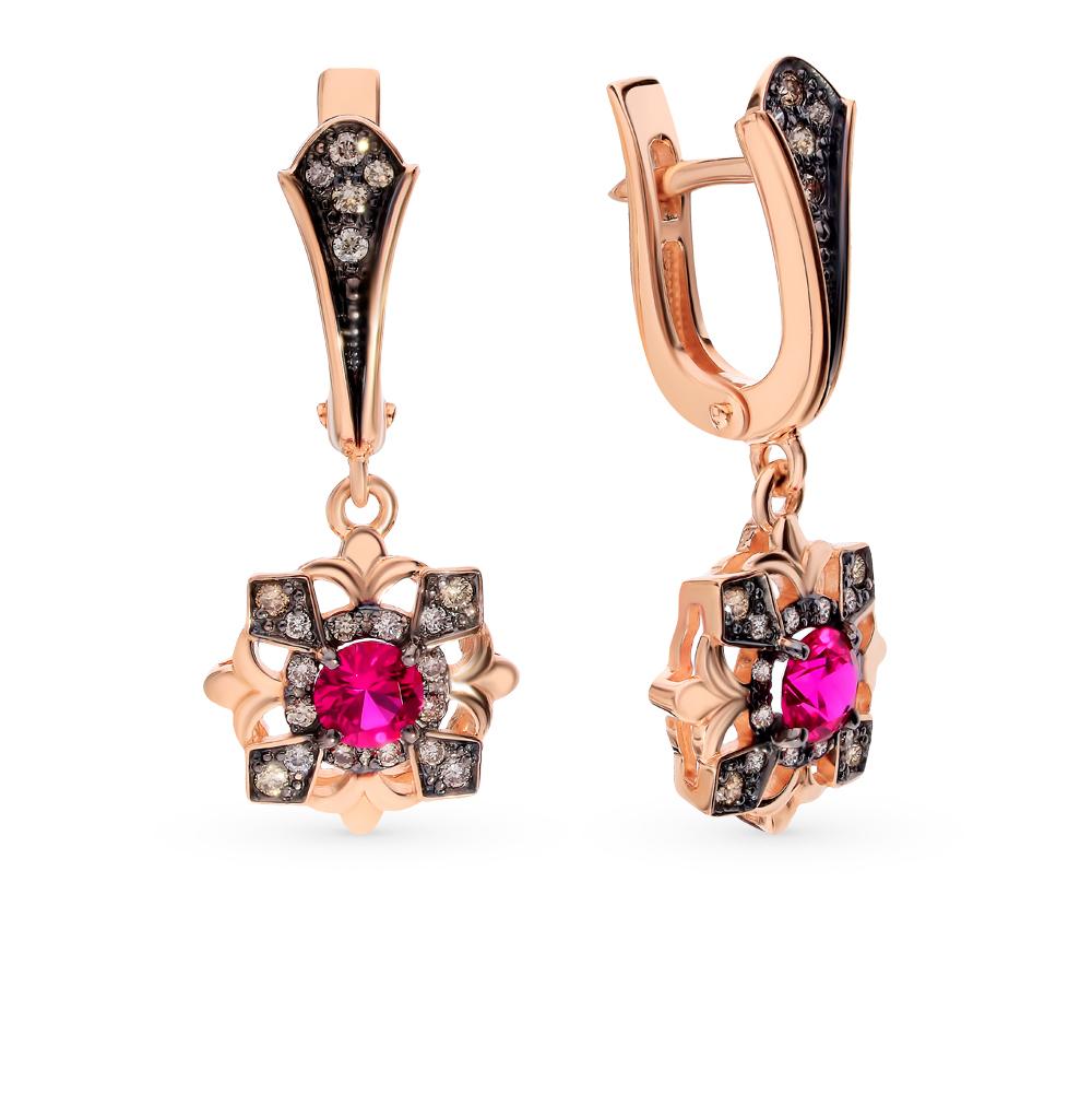 Золотые серьги с коньячными бриллиантами и рубинами в Екатеринбурге