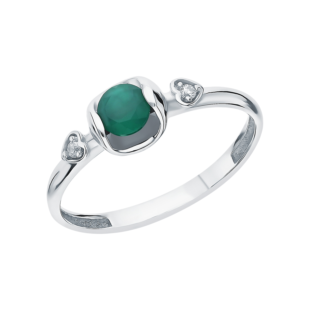 Фото «Серебряное кольцо с фианитами и агатом»