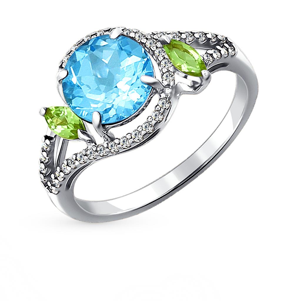 Фото «серебряное кольцо с топазами, фианитами и хризолитом»