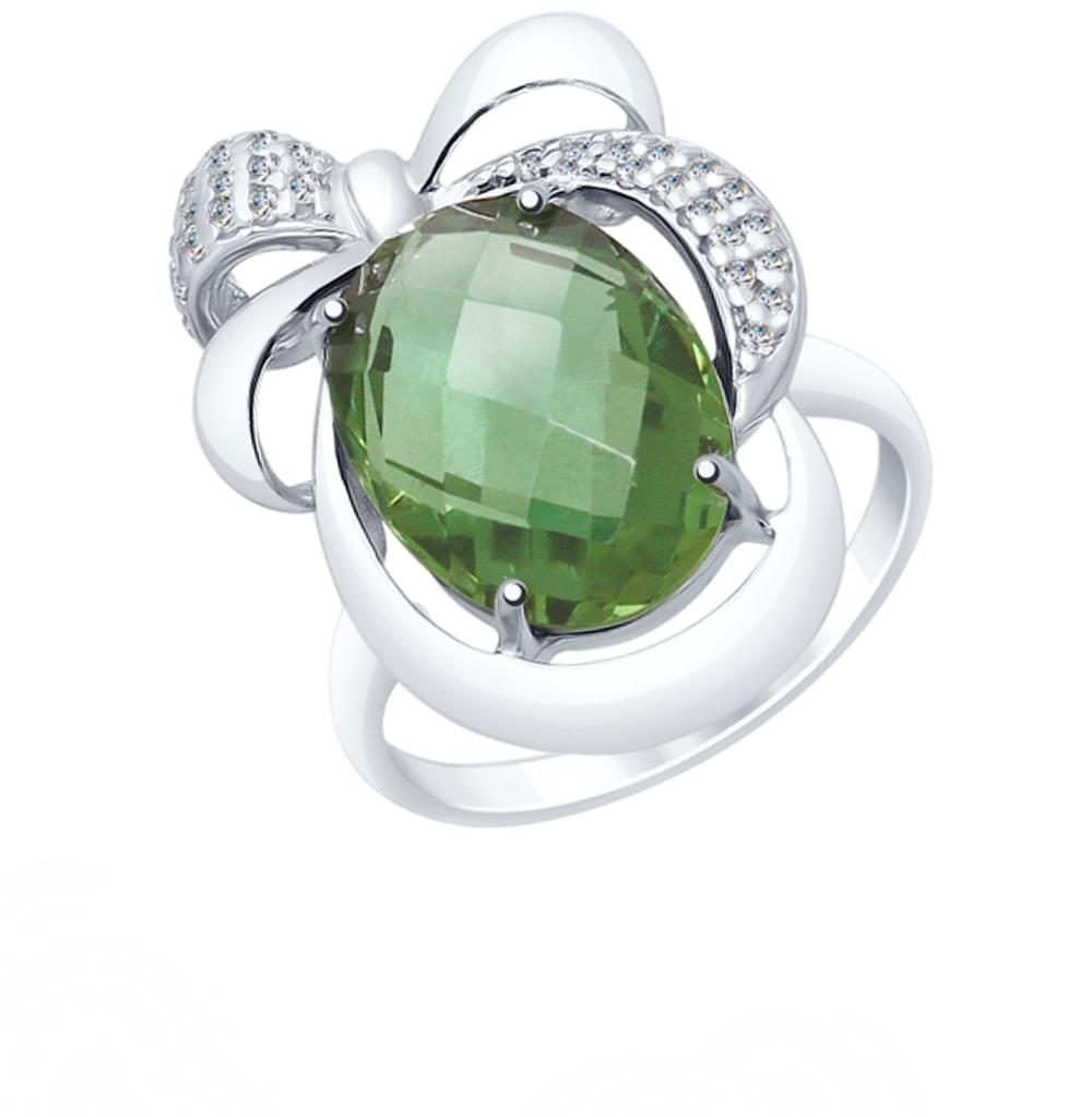 Фото «Серебряное кольцо с кварцем и фианитами SOKOLOV 92011549»