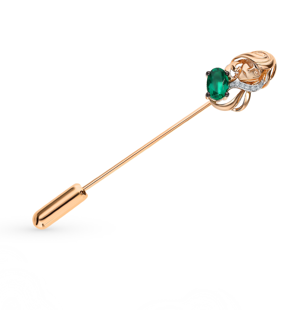 Золотая брошь с бриллиантами и изумрудом «Дева»