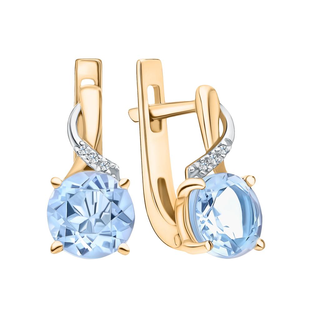 Золотые серьги с топазами и бриллиантами в Екатеринбурге