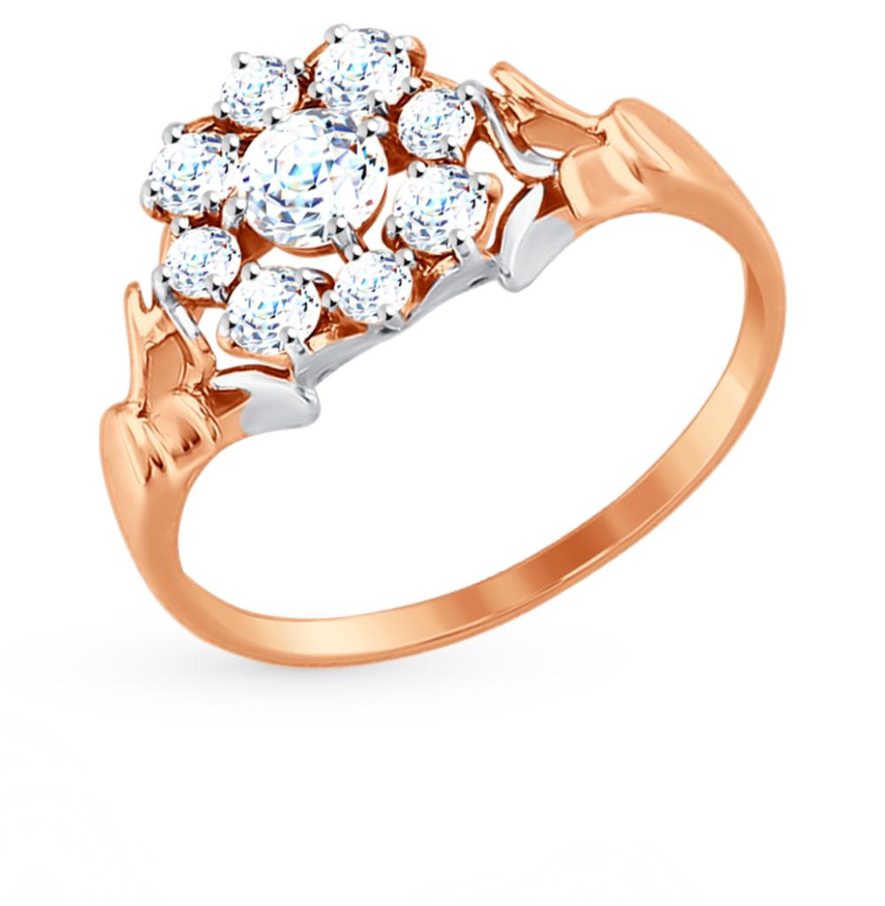 золотое кольцо с фианитами SOKOLOV 81010319*