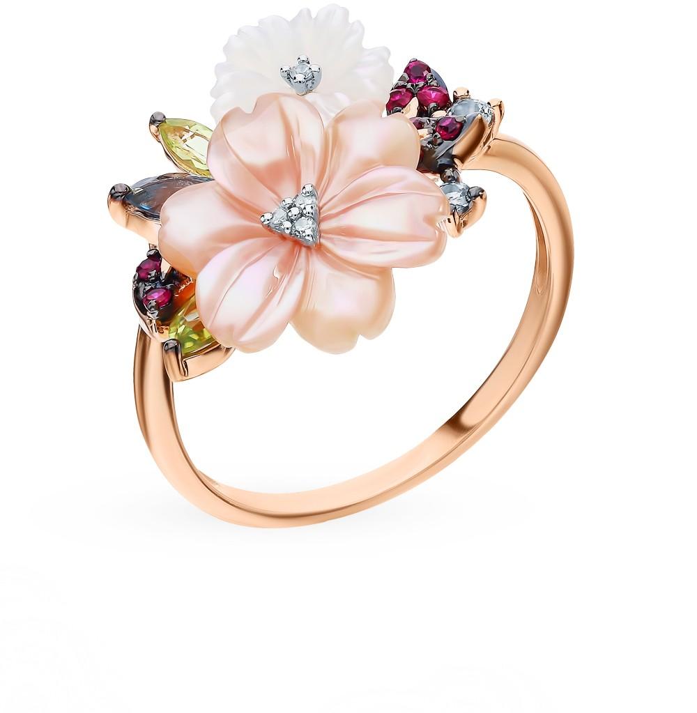 Золотое кольцо с рубинами, сапфирами, хризолитом, топазами, перламутром и бриллиантами в Екатеринбурге