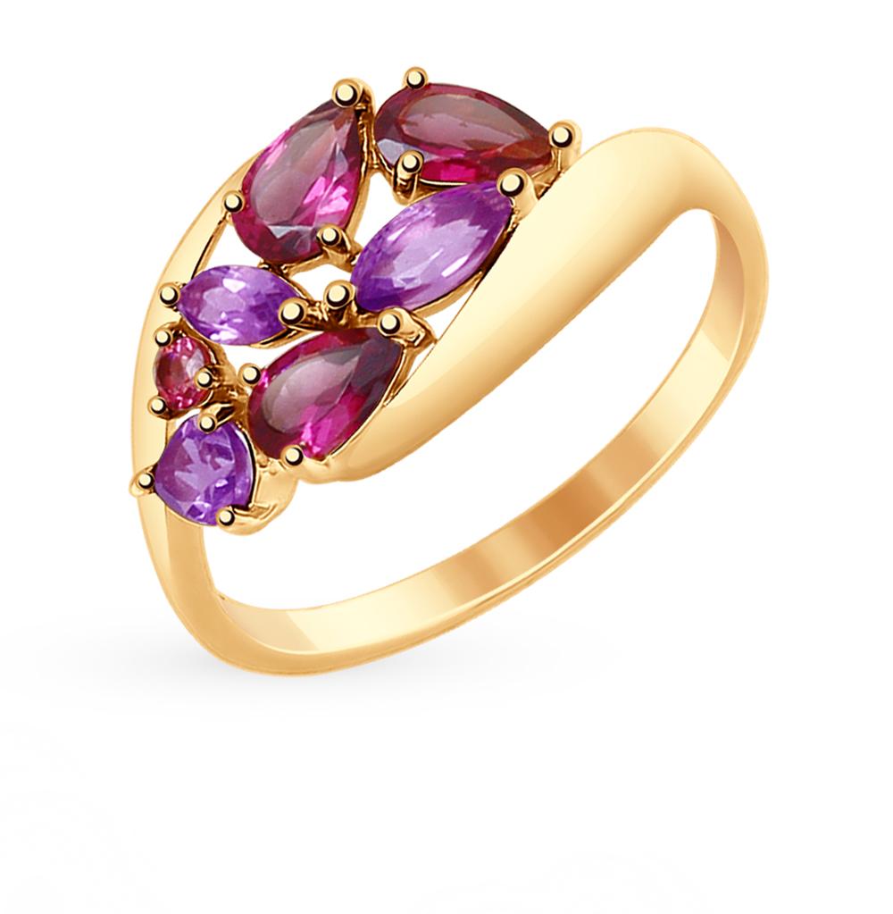 золотое кольцо с родолитами и аметистом SOKOLOV 714831*