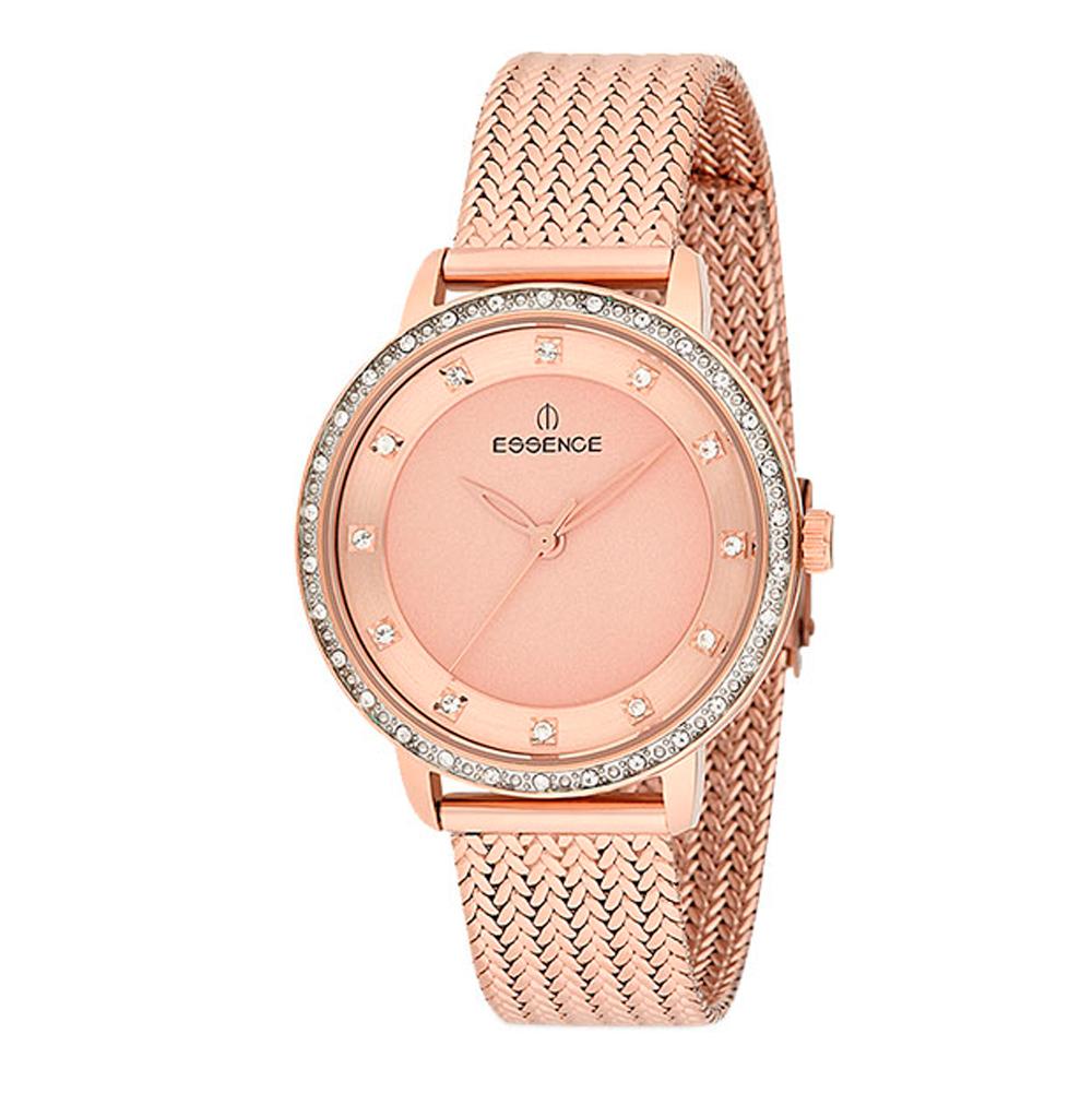 Женские часы ES6416FE.410 на стальном браслете с розовым IP покрытием с минеральным стеклом