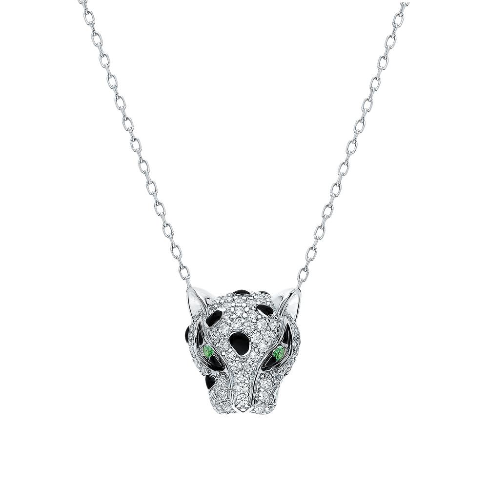 Фото «Серебряное шейное украшение с фианитами и эмалью»