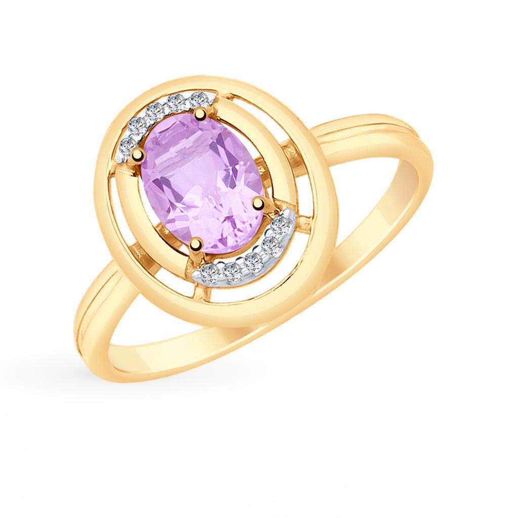 золотое кольцо с аметистом и фианитами SOKOLOV 715349*