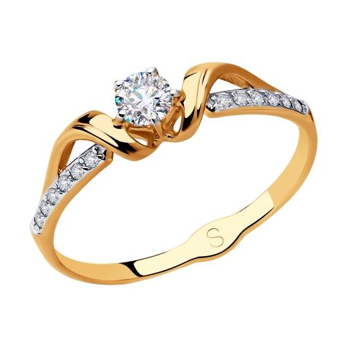 Фото «Золотое кольцо с фианитами SOKOLOV 018081*»