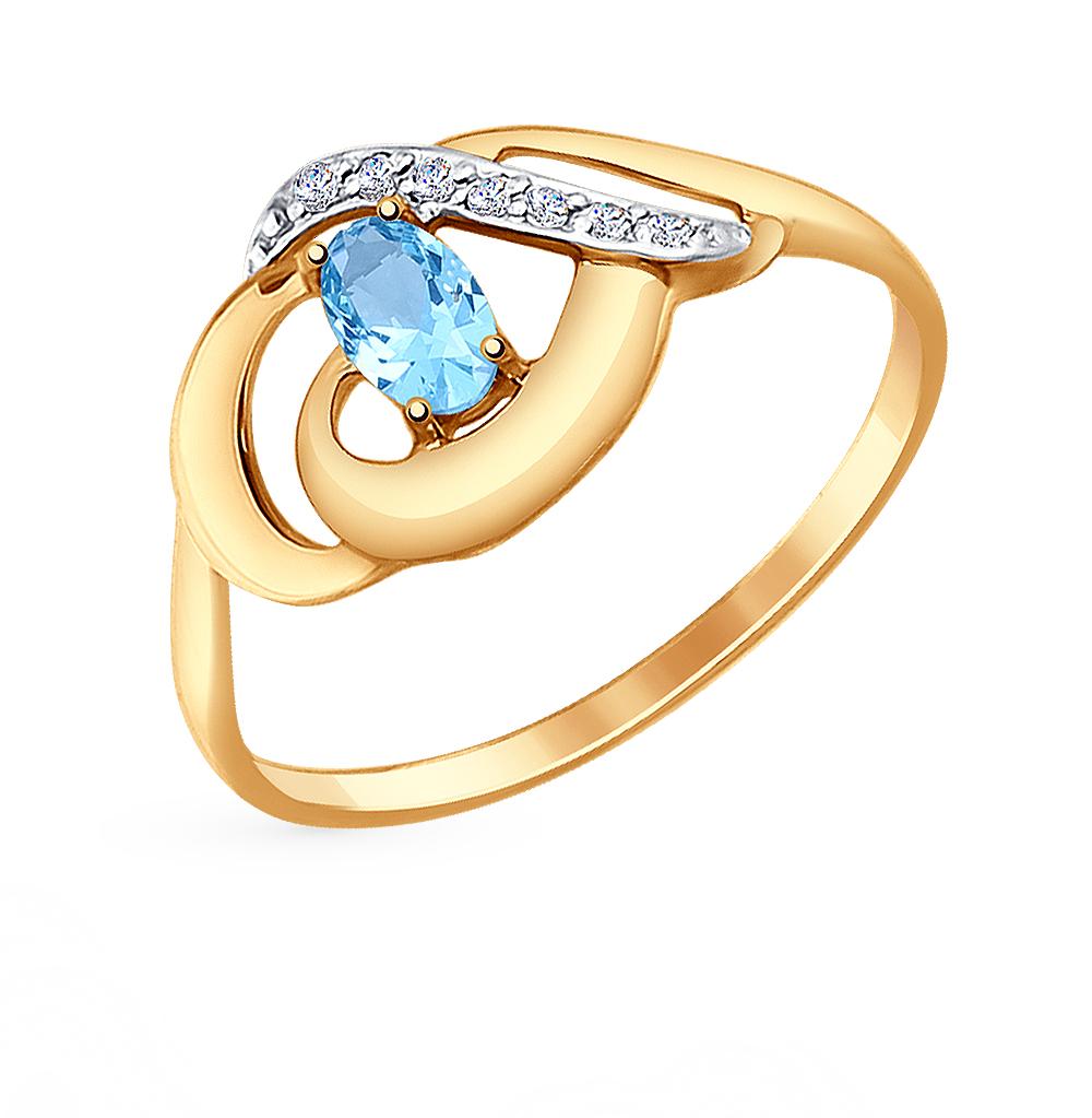 золотое кольцо с топазами и фианитами SOKOLOV 714650*