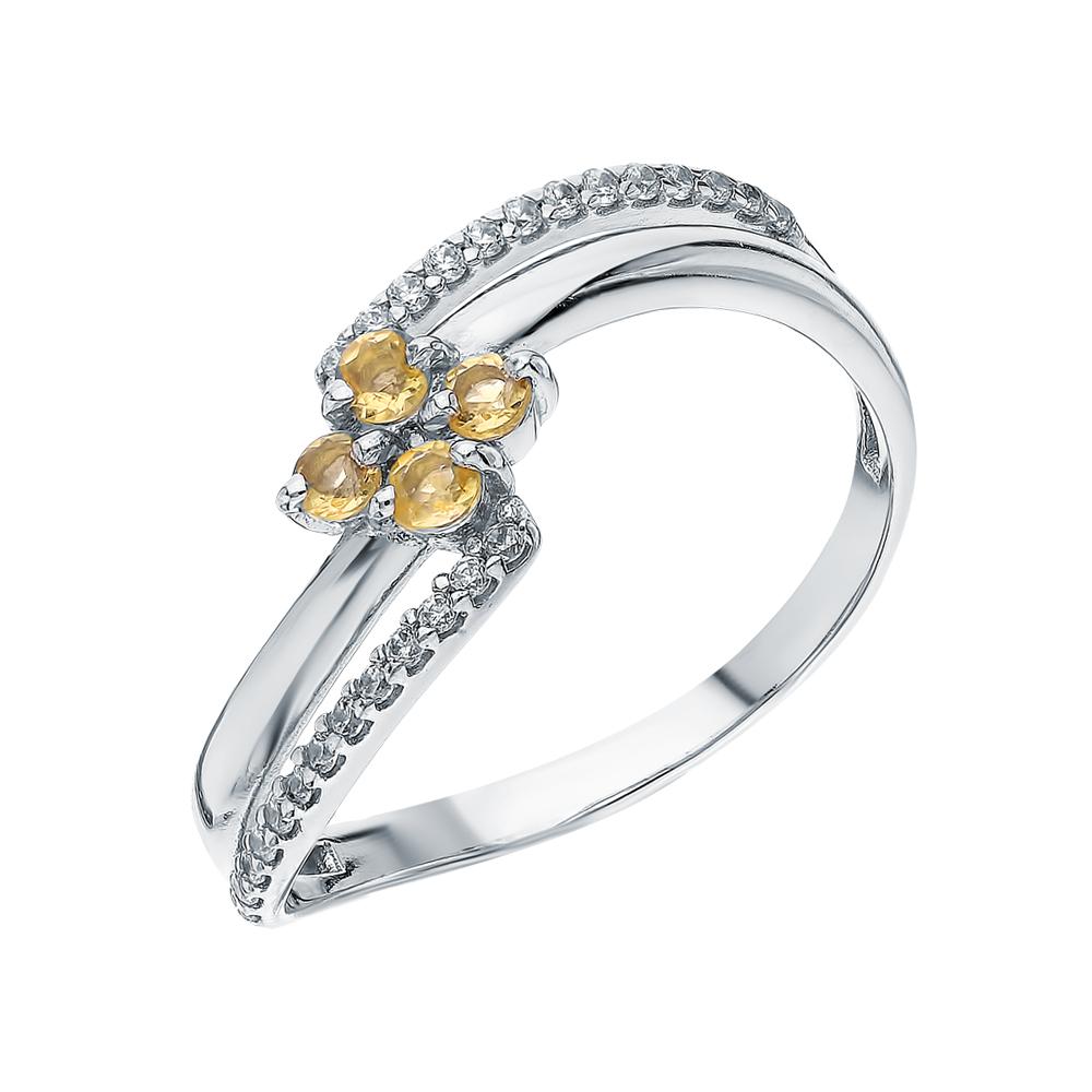 Серебряное кольцо с фианитами и цитринами в Санкт-Петербурге