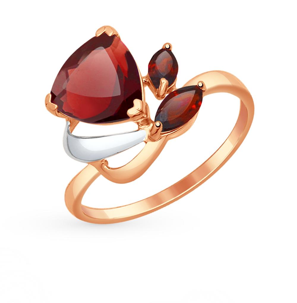 золотое кольцо с гранатом SOKOLOV 714624*