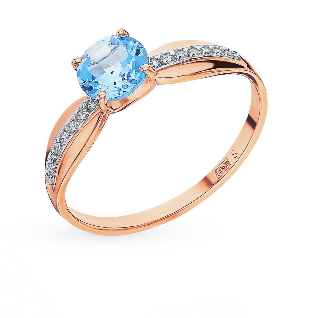 Золотое кольцо с топазами и фианитами SOKOLOV 715947* в Екатеринбурге