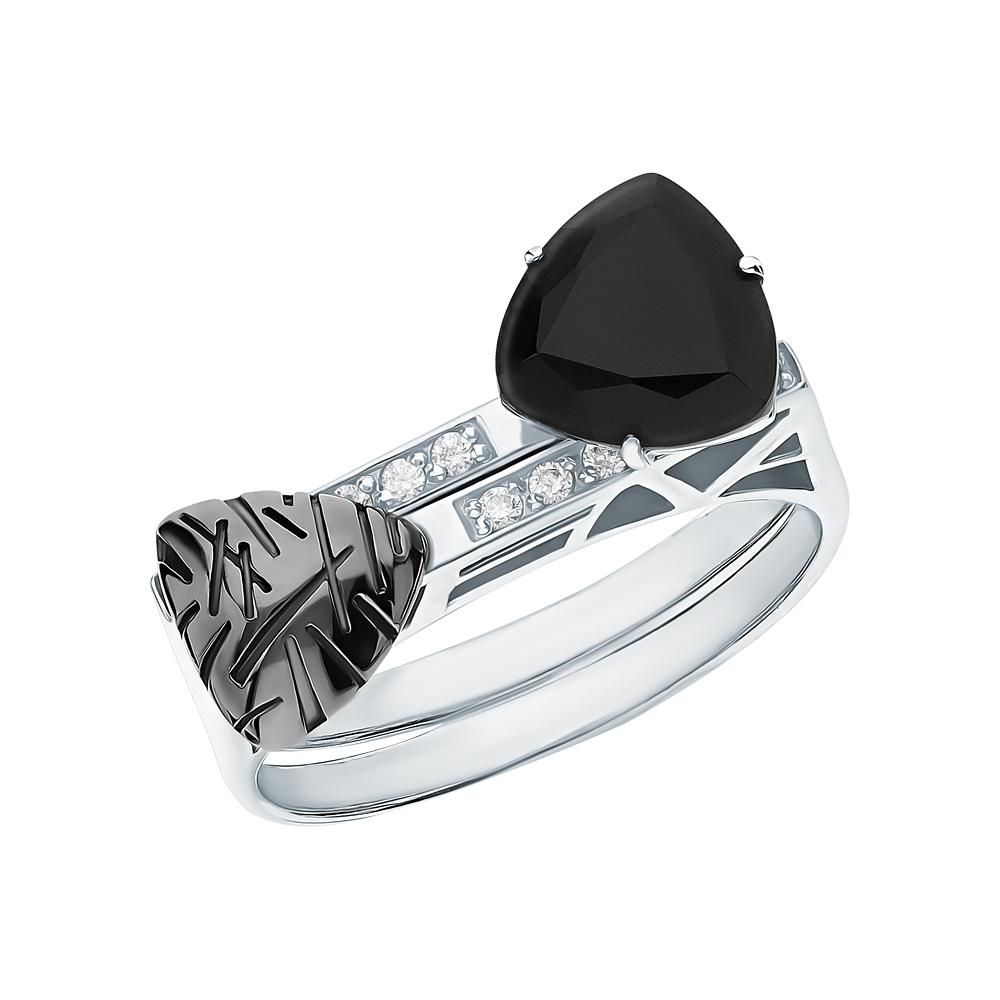 Серебряное кольцо с агатом и фианитами swarovski в Екатеринбурге