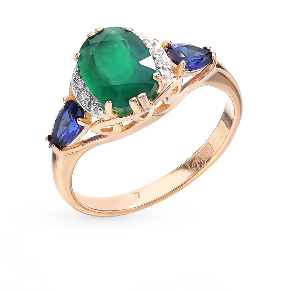 Фото «Золотое кольцо с хризопразами, сапфирами и фианитами»