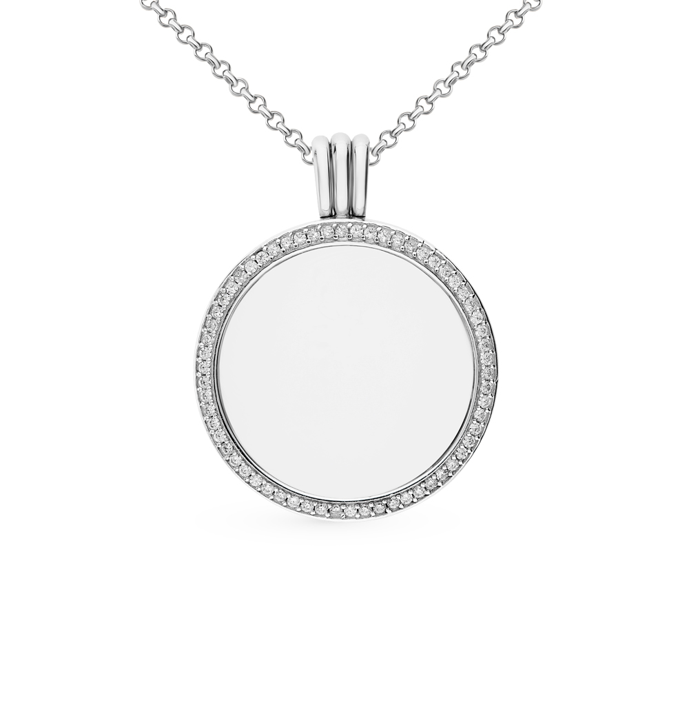 Серебряный медальон со стеклом