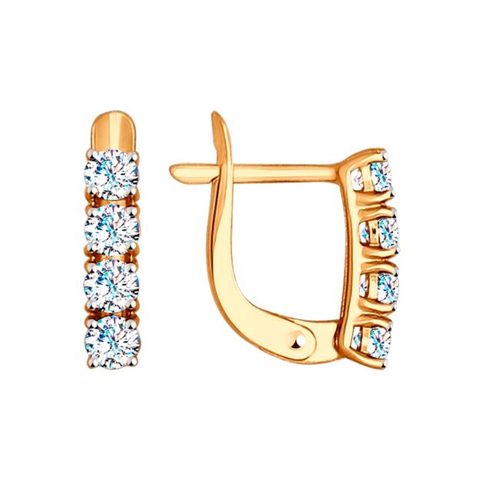 золотые серьги с фианитами SOKOLOV 027449
